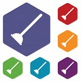 stock photo of plunger  - Colored set of hexagon icons with image of plunger - JPG