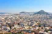 stock photo of akropolis  - Mt Lycabettus from Acropolis in the morning, Athens, Greece