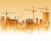 stock photo of construction crane  - Lots of cranes on construction site - JPG