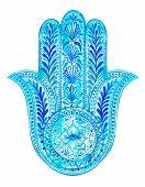 stock photo of hamsa  - watercolor hamsa illustration - JPG