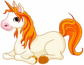 stock photo of fairy tail  - Illustration of very cute red tail unicorn - JPG