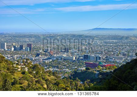 Panoramic view of the west hollywood from hollywood hills for T shirt printing downtown los angeles
