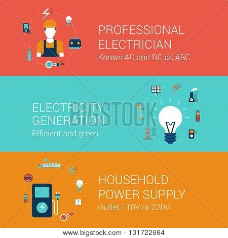 Electricity concept flat icons set