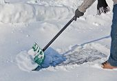 Snow Shovel Pushing Snow