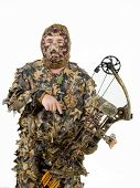 stock photo of fletching  - bow hunter in full 3d camouflage for stealth on a white background - JPG