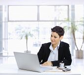 pic of computer-screen  - Businesswoman sitting at table in office lobby - JPG