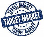 Target Market Blue Grunge Round Vintage Rubber Stamp.target Market Stamp.target Market Round Stamp.t poster