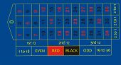 stock photo of roulette table  - digital casino roulette table layout colored blue - JPG