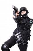 picture of anti-terrorism  - Shot of a soldier holding gun - JPG