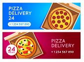 Постер, плакат: Pizza Delivery Vector Background Pizza 24 Hours Pizza With Pizza Box Hot Fast Food Pizza Delivery
