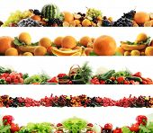 High quality collection of fruits and vegetables borders on a white background