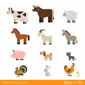 Flat vector icon wild farm domestic animal cartoon collection poster