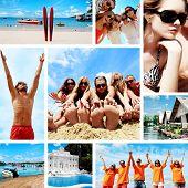 Collage de fotos de verano con jóvenes en la playa.