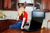 Little boy with his laptop at home.