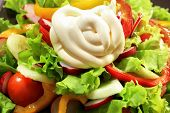 Fresh vegetable salad dressed with mayonnaise.