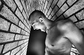 picture of skinhead  - Portrait of a handsome muscular man posing over black background and brick wall - JPG