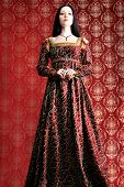 pic of beautiful women  - Portrait of a beautiful woman in medieval era dress - JPG