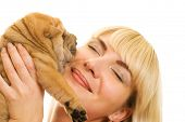 Beautiful girl with sharpei puppy