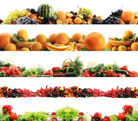 picture of vegetable food fruit  - High quality collection of fruits and vegetables borders on a white background - JPG