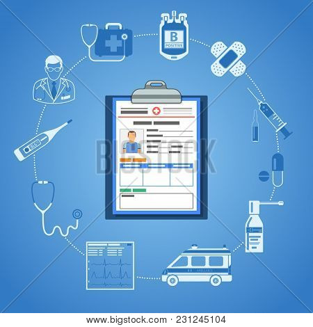 poster of Medical Concept With Two Color Flat Icons Mediacl Record, Doctor, Stethoscope, Syringe, Cardiogram,