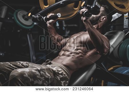 poster of Handsome Model Muscle Man Abs Workout In Gym
