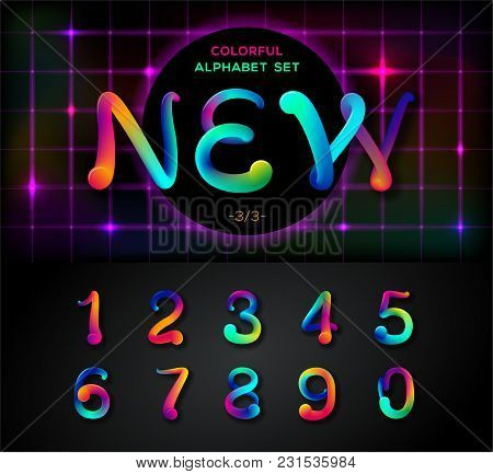 Colorful Dynamic Liquid Ink Alphabet  Color Mixing Thick Oil Paint Font In  Style 80s  Neon Rainbow A poster