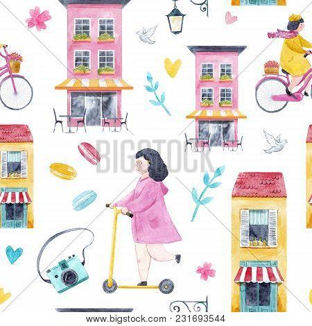 Beautiful Seamless Pattern With Watercolor