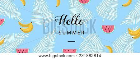 poster of Hello Summer Banner. Flat Style Summer Background. Trendy Summer Wallpaper With Fruit. Vector Illust