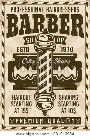 Barber Shop Vintage Poster With