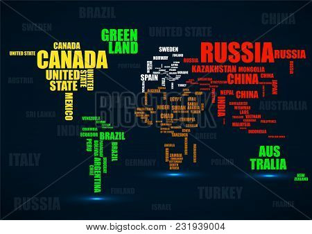 Typography Colorful World Map With Country Names Poster ID:231939004