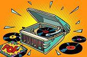 Pop Music, Vinyl Records And Gramophone. Comic Book Cartoon Pop Art Illustration Retro Drawing poster