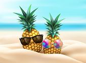 Pineapple In Sunglasses In Beach Sand On Seaside Background. Realistic Funny Fruit 3d Tropical Pool  poster