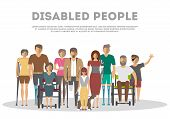 Disabled People Banner In Flat Style  Illustration. Invalid Persons, Blind Woman, Broken Arm, People poster