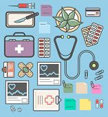 Medical Equipment Isolated Colorful Icons. Healthcare, Diagnosis And Treatment, Pharmaceutical Medic poster