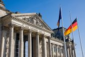 Reichstag with german flag