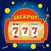 Slot Machine, Jackpot In The Slot Machine. Win On The Slot Machine. Flat Design, Vector Illustration poster
