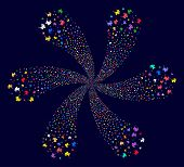 Psychedelic Baby Carriage Cycle Fireworks On A Dark Background. Psychedelic Vector Cycle Composed Fr poster