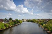City Bila Tserkva.Ukraine.Panorama of the river Ros, view of the Church of St. Mary Magdalene.