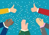 Hand Claps. Clapping Businessman Hands Vector Illustration, Human Ovation Celebrating Applause poster