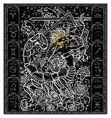 White Silhouette Of Fantasy Zodiac Sign Scorpio In Gothic Frame On Black. Hand Drawn Engraved Illust poster