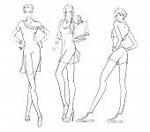 Stylish Fashion Models. Pretty Young Girls. Fashion Girls Sketch poster