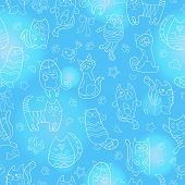 Seamless Pattern With Contour Images Cartoon Cats , Light Contour On Blue Background poster
