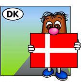 'Brownie' Showing The Danish Flag