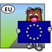 'Brownie' Showing The Flag Of The European Union