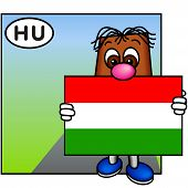 'Brownie' Showing The Flag Of Hungary