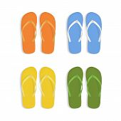 Realistic 3d Colorful Flip Flops Beach Slippers Sandals Set Isolated On White Background Summer Foot poster