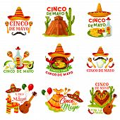Cinco De Mayo Fiesta Party Icon Of Mexican Holiday. Festival Sombrero Hat, Chili Pepper And Jalapeno poster