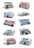 Newspaper 3d Illustration Set Of Folded News Paper Sheet. Daily Publication Of Business News Mock-up poster