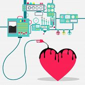 Machinery Of Factory Refining Oil And Spilling Oil On The Heart Shape. Oil Industry. Conceptual. poster