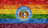 Brick Wall Missouri And Gay Flags - Illustration, Rainbow Flag On Brick Textured Background,  Abstra poster